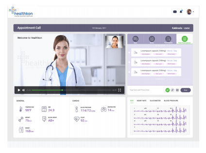 A website displaying graphical interface of patient vitals to a doctor