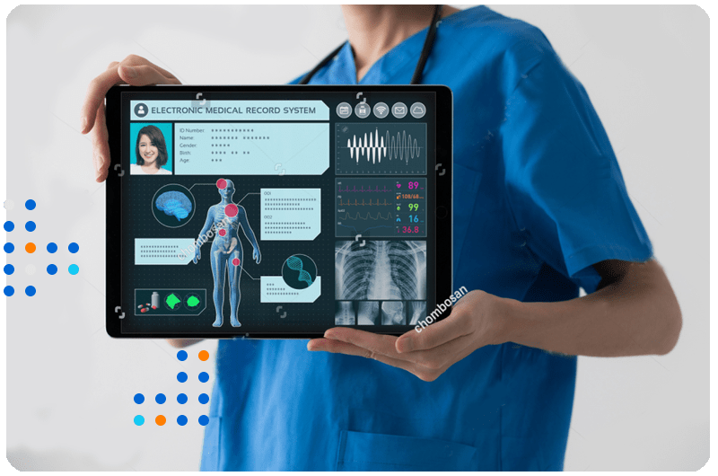 Doctor hold a tablet in which patient vitals were displayed in a cloud based Megha EHR developed by Healthkon